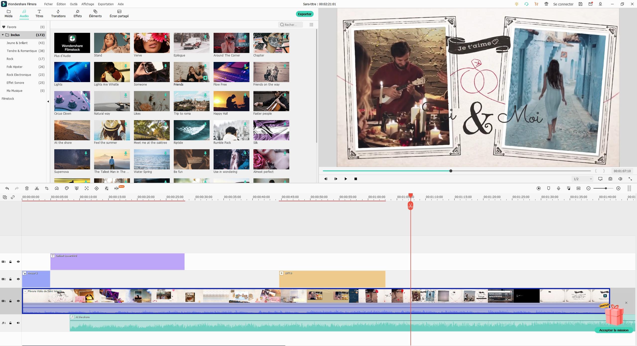 Image de la timeline de Wondershare Filmora - la meilleure alternative à Final Cut Pro sur Mac