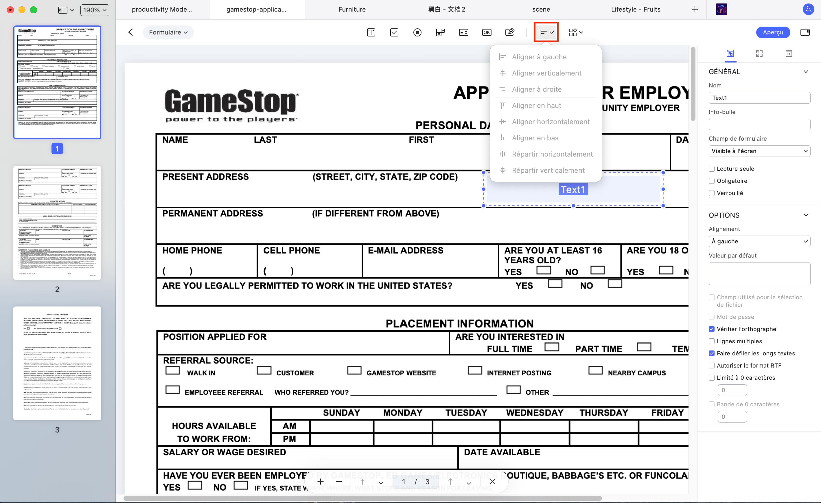 aligner le formulaire
