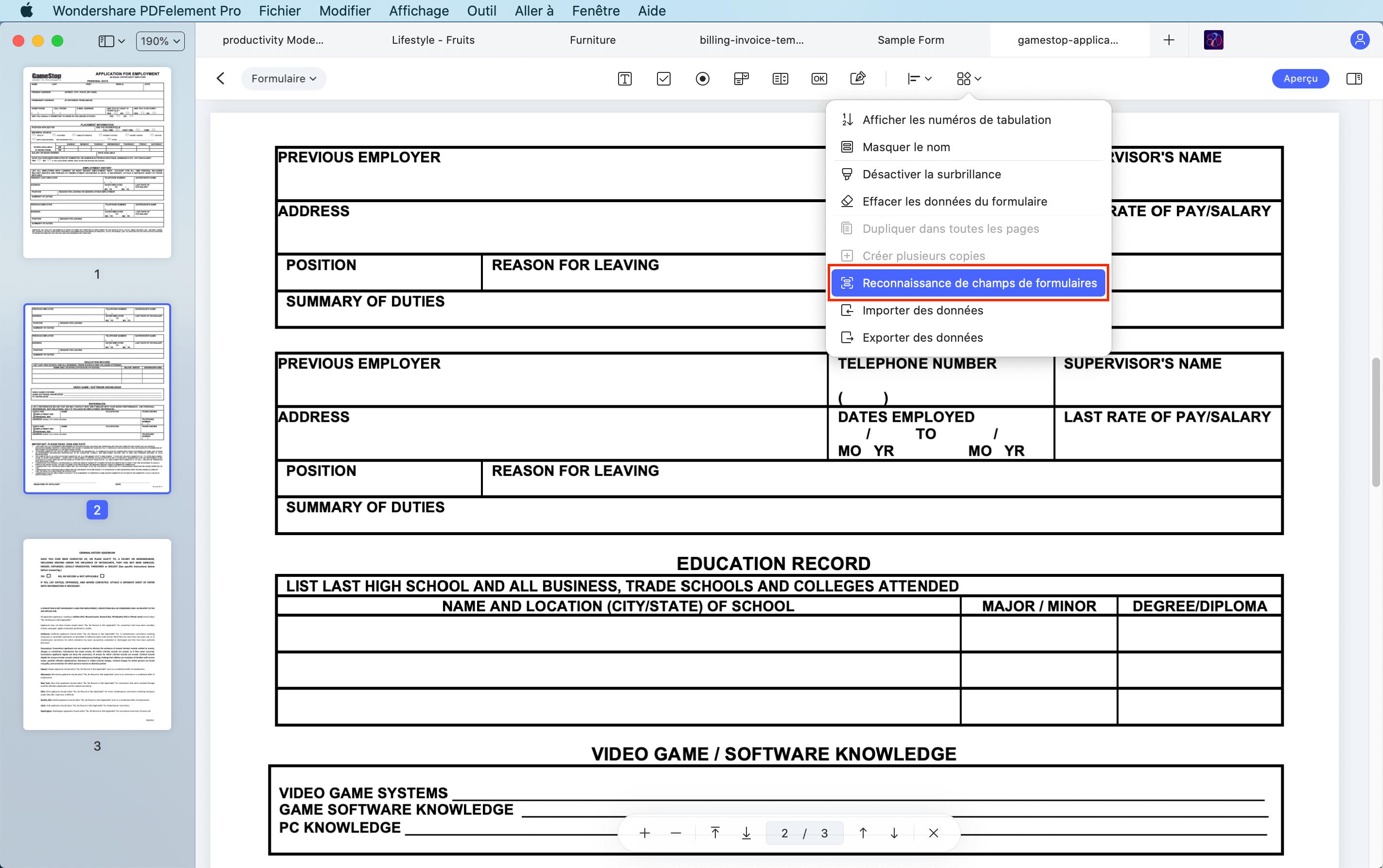 créer un formulaire automatiquement