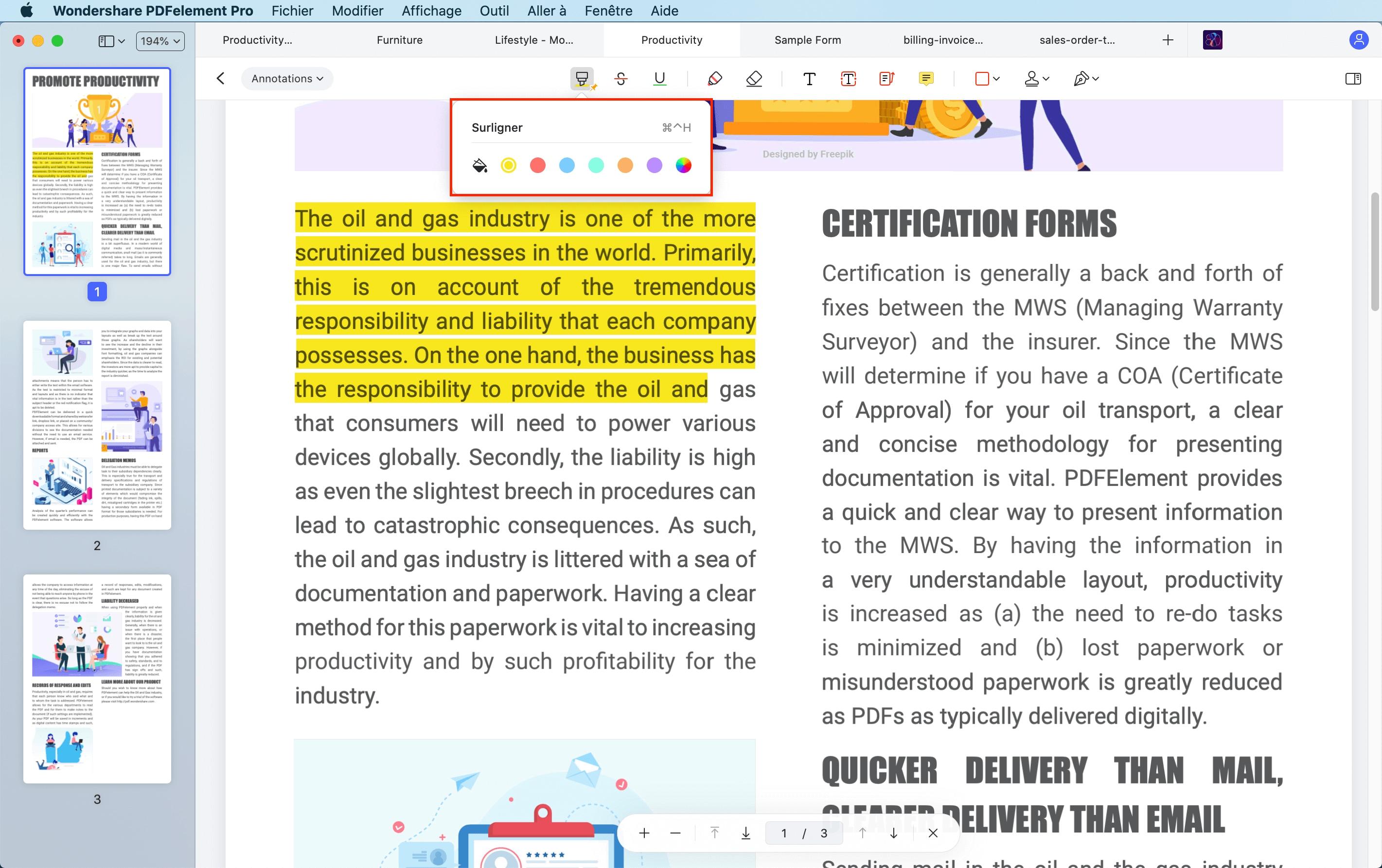 Surligner le pdf