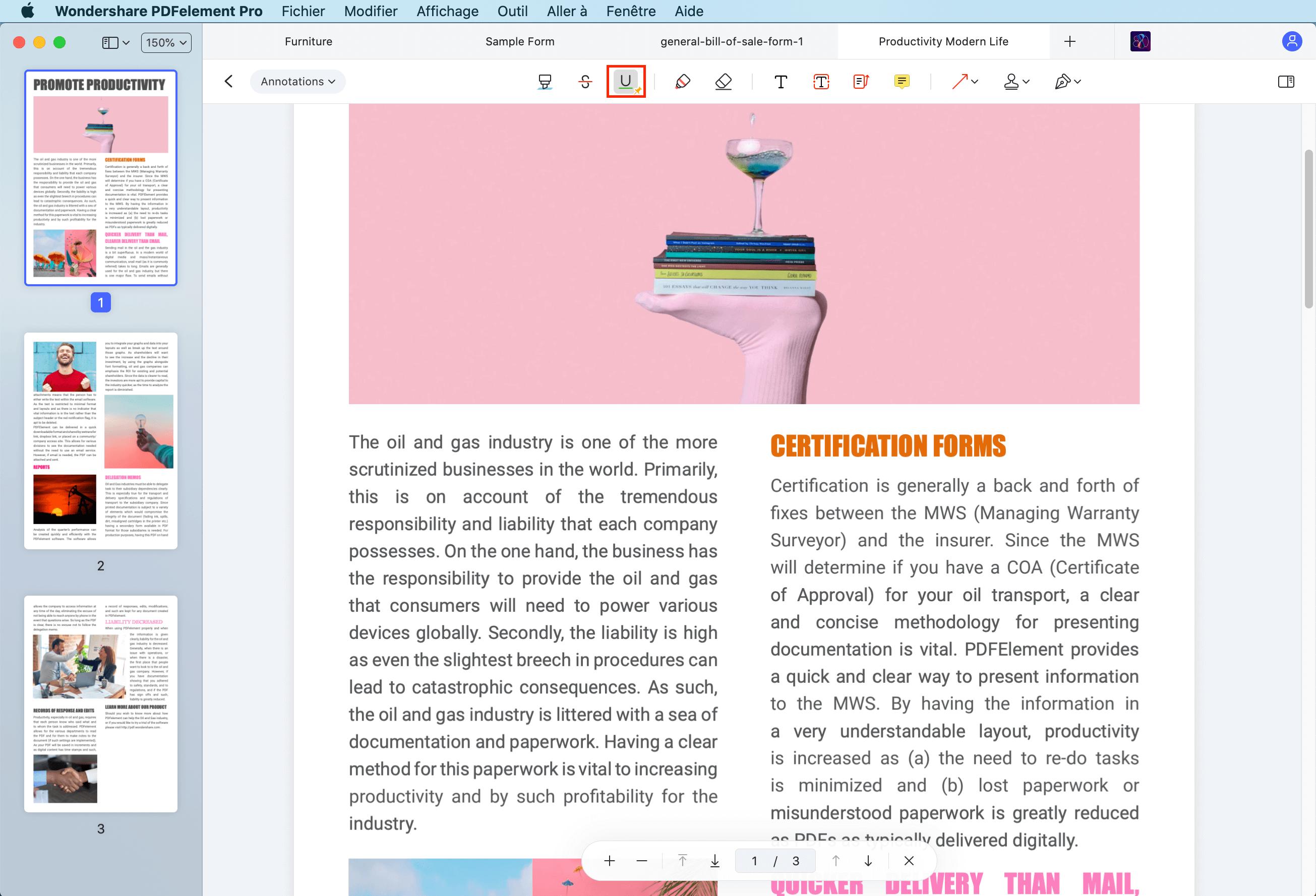 souligner le pdf