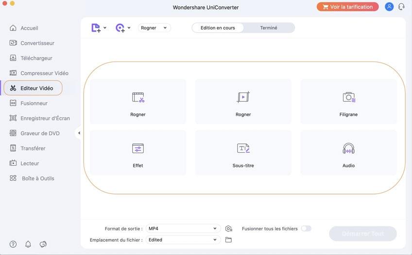 modifier des fichiers avec Wondershare UniConverter pour Mac