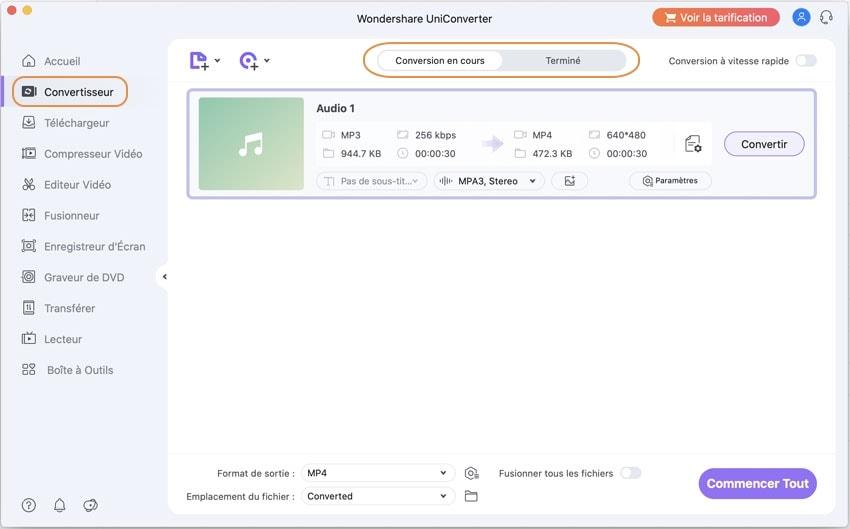 Convertir audio avec Wondershare UniConverter pour Mac