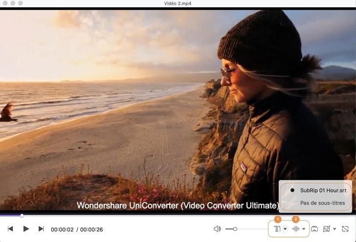 lecture vidéo avec sous-titres et pistes audio sélectionnés