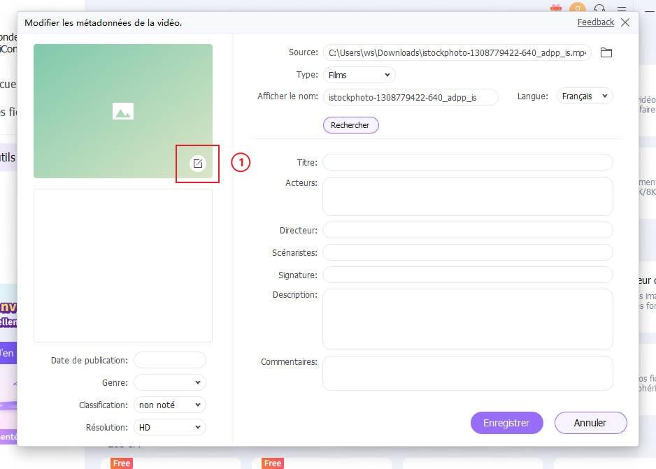 modifier les métadonnées vidéo
