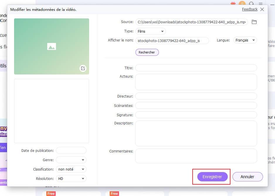 enregistrer les métadonnées vidéo
