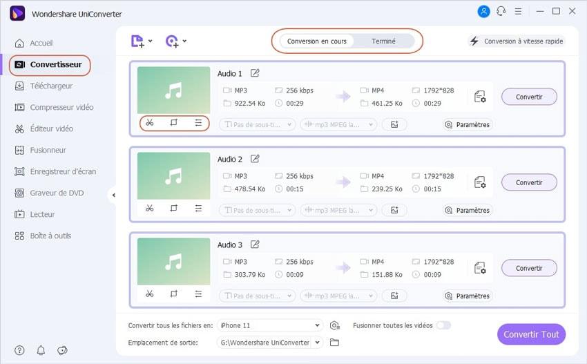 Bases de Wondershare UniConverter - Fonctions de Conversion Audio