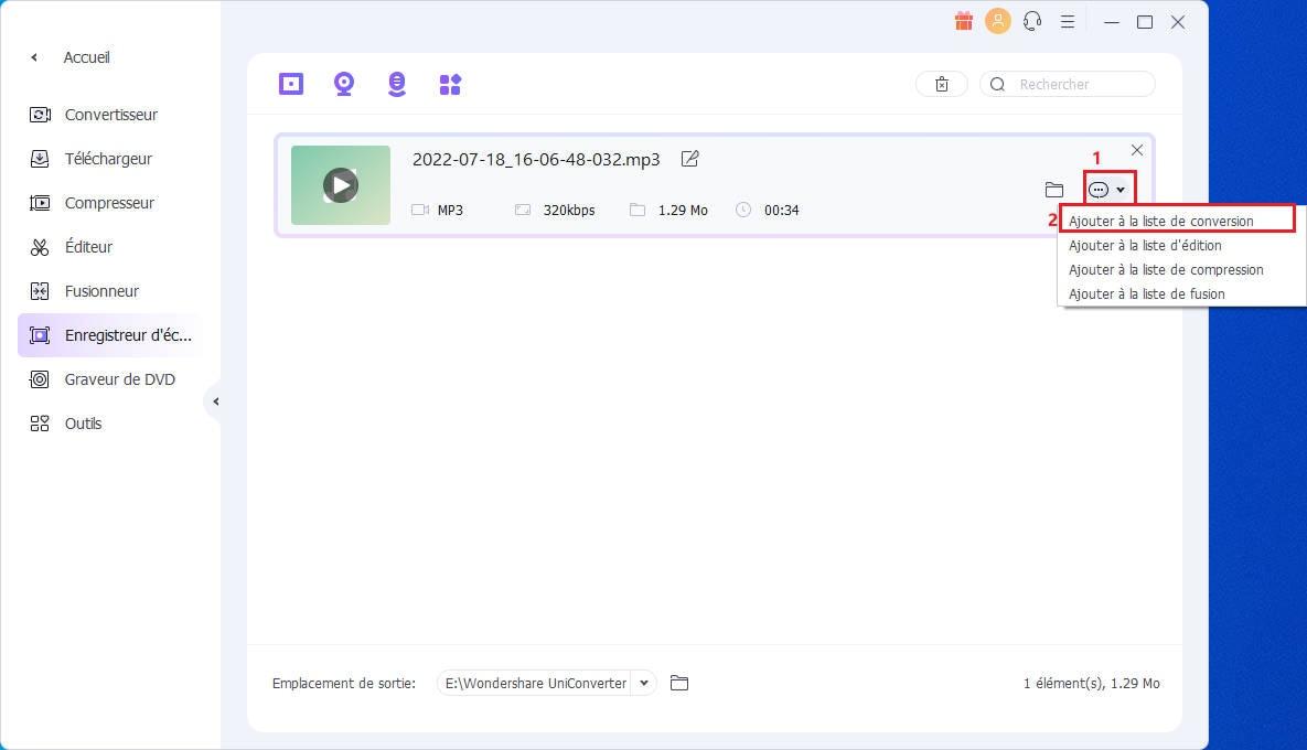 Transfert de fichier vers Audio Converter